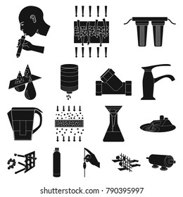 Water filtration system black icons in set collection for design. Cleaning equipment vector symbol stock  illustration.