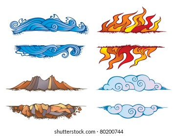 Water, Fire, Earth and Air: set of the four elements of nature in the shape of ornamental frames, vector illustration