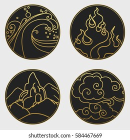 Water, fire, ground, air. Collection of decorative graphic design elements in oriental style. Vector hand drawn illustration