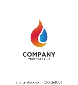 water and fire, plumbing gas logo design vector minimalist