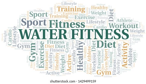 Water Fitness word cloud. Wordcloud made with text only.