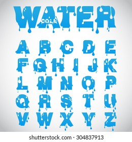 """""""Water"""" font made from flow font, vector"""