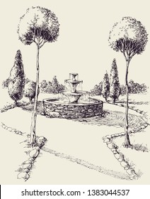 Water fountain in a park square hand drawing. Garden alley sketch