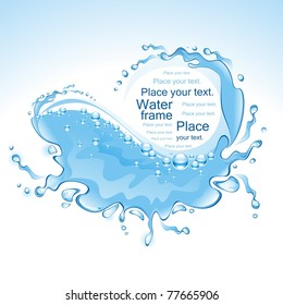 Water frame with bubbles. Wave. (vector illustration)