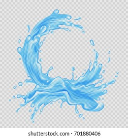 Water frame. Transparent splash of water flow in a circle. Vector illustration.