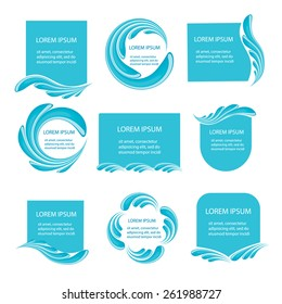 Water frames set, vector illustration. Blue water splashes labels and tags.