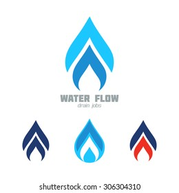 Water & Gas supply service business icon vector set. Plumbing service symbol set. Graphics for water or gas flow, water drops, hot & cold water, flames, speed. Sample text. Editable, layered vector