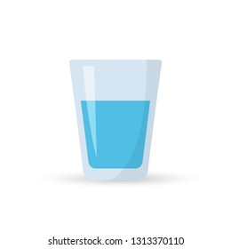 Water glass icon in flat style. Soda glass vector illustration. Liquid water business concept.