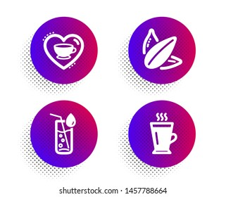 Water glass, Love coffee and Sunflower seed icons simple set. Halftone dots button. Latte sign. Soda drink, Cappuccino mug, Vegetarian food. Tea glass mug. Food and drink set. Vector