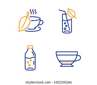 Water glass, Mint tea and Water bottle icons simple set. Dry cappuccino sign. Soda drink, Mentha beverage, Beverage mug. Food and drink set. Linear water glass icon. Colorful design set. Vector