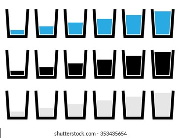 Water glass symbols, pictograms - Empty, half, full glass of water.