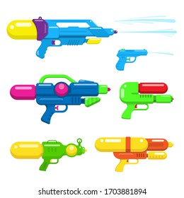 Water gun collection. colorful toy guns flat design. vector Illustration