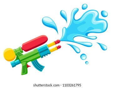 Water gun illustration. Plastic summer toy. Colorful design for children. Gun with water splash. Flat vector illustration isolated on white background.