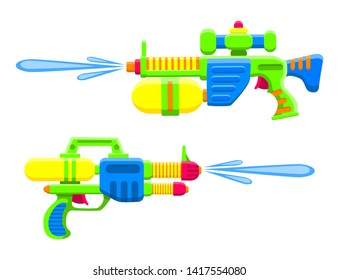 Water guns. Bright multi-colored children's toys. Isolated objects. Flat vector illustration on white background.