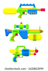 Water guns set. Bright multi-colored children's toys. Isolated objects. Flat vector illustration on white background