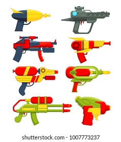 Water guns. Weapons toys for childrens. Toy weapon pistol for kids game, vector illustration