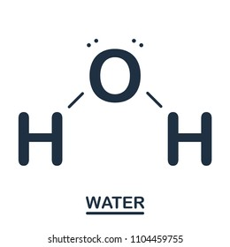 Water H2O formule. Aqua molecule isolated on white background. Science concept. Vector flat design