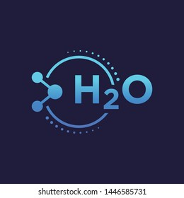 Water H2O Molecule Symbol Vector  Logo Illustration Background