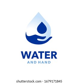 Water and Hand Logo Symbol Flat Modern Illustration