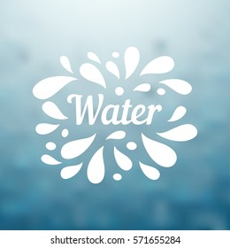 Water hand written lettering, water logo, label or badge for groceries, stores, packaging and advertising on blurred background. Splash with drops badge Logotype design. Vector illustration.