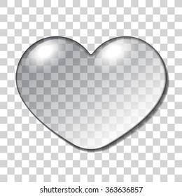 Water Heart Drop. Realistic macro sign isolated on Transparent Background. Nature  Symbol of love, happiness, health. Gel fashion printing design for Valentine day or wedding card. Vector illustration