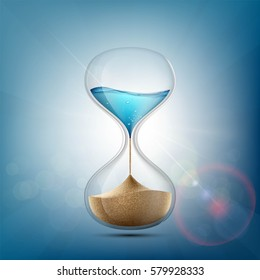 Water in hourglass becomes a sand. Stock vector illustration.