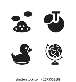 water icon. 4 water vector icons set. whack a mole, duck and earth globe icons for web and design about water theme
