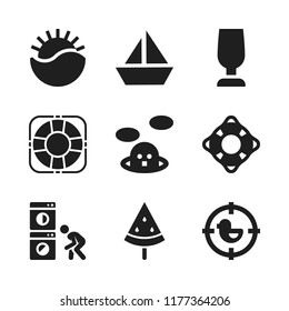 water icon. 9 water vector icons set. whack a mole, lifesaver and sailboat icon icons for web and design about water theme