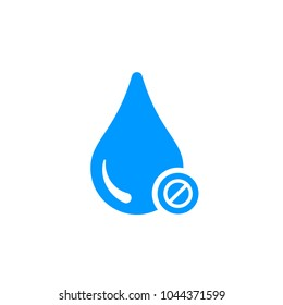 Water icon with not allowed sign. Water icon and block, forbidden, prohibit symbol. Vector icon