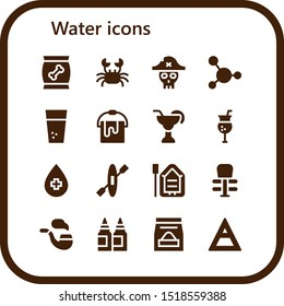 water icon set. 16 filled water icons.  Simple modern icons about  - Food, Crab, Pirate, Blood, Water, Bucket, Cocktail, Kayak, Boat, Exercise, Pipe, Inks, Air