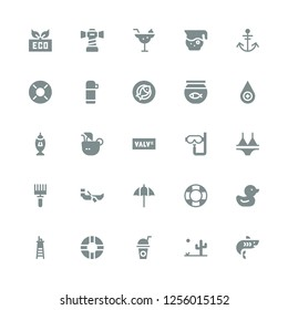 water icon set. Collection of 25 filled water icons included Shark, Desert, Drink, Lifesaver, Lifeguard, Duck, Umbrella, Boat, Rake, Bikini, Dive, Valve, Coconut drink, Fishing