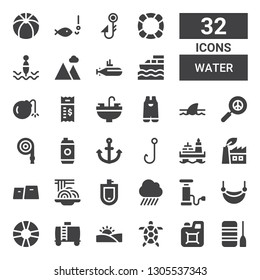 water icon set. Collection of 32 filled water icons included Boat, Jerrycan, Tortoise, Desert, Water tank, Lifesaver, Hammock, Pump, Rain, Urinal, Padthai, Gym, Green power, Oil