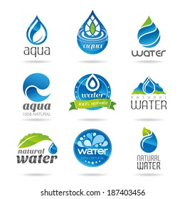 Water icon set, water design elements.