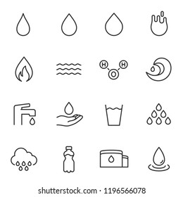 water icon set. water drop, linear icons. Line with editable stroke