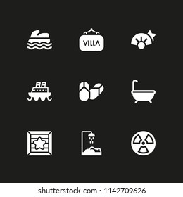 water icon set. radiation, shell and sea scooter vector icon for graphic design and web
