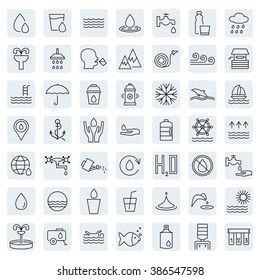 Water icon set in thin line style. Vector illustration.