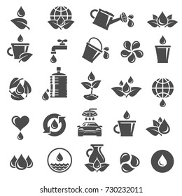 Water icon set. Vector