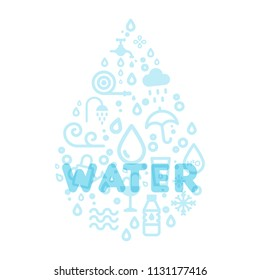 Water icons creating a drop shape. Translucent word water. Vector illustration, flat design