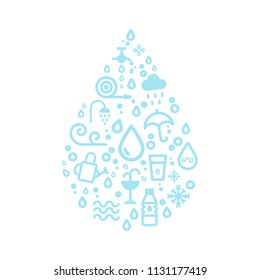 Water icons creating a drop shape. Vector illustration, flat design