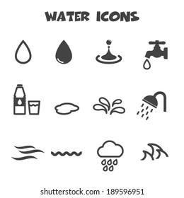 water icons, mono vector symbols