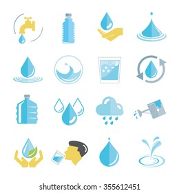 water icons set, drinking water icons