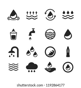 Water icons set isolated on white background. Modern water icons for web site,mobile app and logo template. Flat icons for labels and logotype. Creative art concept, vector illustration