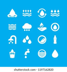Water icons set isolated on blue background. Modern water icons for web site,mobile app and logo template. Flat icons for labels and logotype. Creative art concept, vector illustration