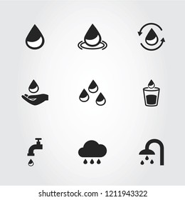 Water icons set isolated on gray background. Modern water icons for web site,mobile app and logo template. Flat icons for labels and logotype. Creative art concept, vector illustration