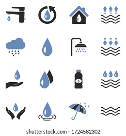 Water Icons. Two Tone Flat Design. Vector Illustration.