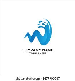 water illustration abstrak 3d logo