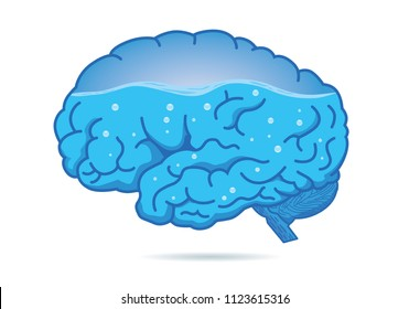 Water inside of the human brain isolated on white background. Illustration about health.