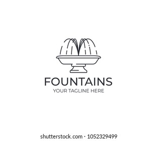 Water jet fountain logo template. Linear fountain silhouette vector design. Water splash logotype