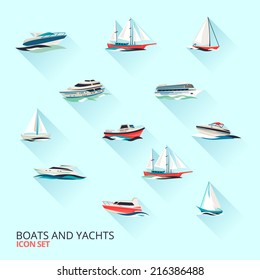 Water jet speed motor boats and yacht navigation sport template flat shadow pictograms set vector isolated illustration