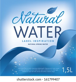 Water label on light blue background with ribbon